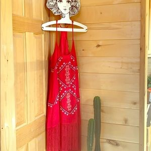 Ark and Co size small red fringe dress